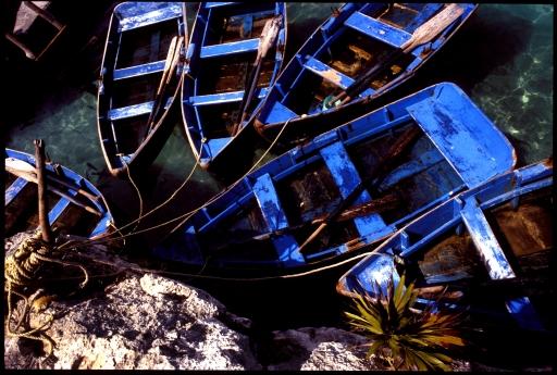 Rowboats.  Xel-Ha, Yucatan, Mexico