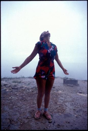 Jane in the Rain,  On Top Of Nohoc Mul Pyramid, Coba,  Yucatan, Mexico