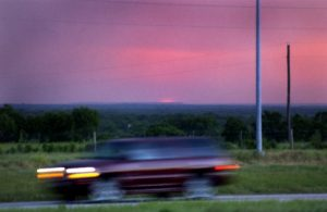 (Texas sunset somewhere off IH -37. July 2004)