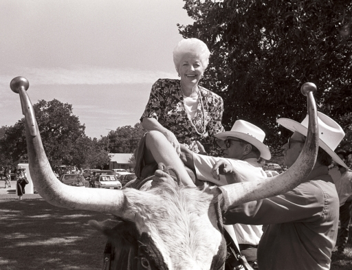 Ann Richards astride a Longhorn…  Johnson City, Texas.  August 1988