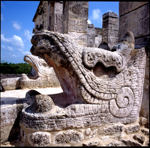Serpent Heads, El Castillo Pyramid, Chichen Itza, Mexico  1988