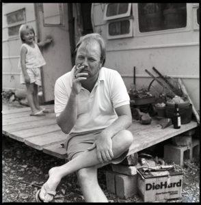 (Harvey Young, aka Tex Thomas, at home near Andice, TX.  1990)
