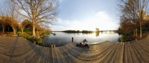 (360 Degree Panorama; Woman on Wooden Pier, Colorado River, Austin TX 2/25/08)