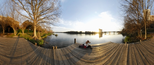 360 Degree Panorama; Woman on Wooden Pier, Colorado River, Austin TX 2/25/08