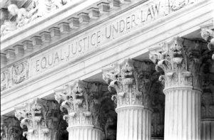 (Supreme Court Front Entrance, Washington, DC, USA.  April, 2001)