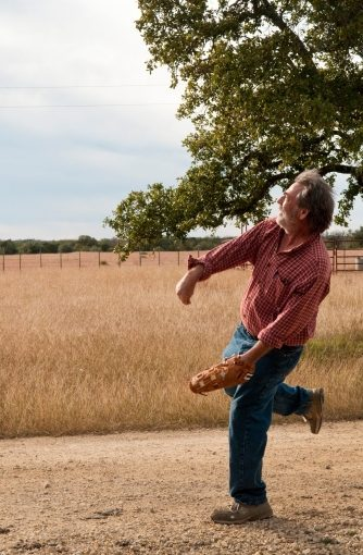 Portrait of me, playing Catch with Hawk and Orion. Near Oatmeal, Texas. 11/27/09
